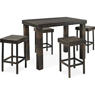 Aldo Outdoor Counter-Height Dining Table and 4 Stools - Brown