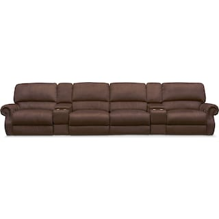 Dartmouth 6-Piece Power Reclining Sectional with 4 Reclining Seats - Mocha