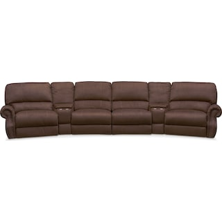 Dartmouth 6-Piece Power Reclining Sectional with 2 Wedge Consoles - Mocha
