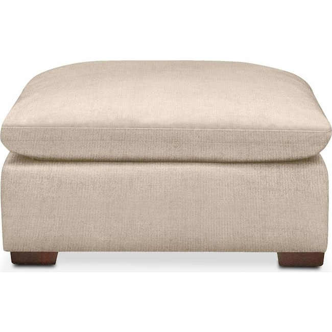 Living Room Furniture - Plush Ottoman- in Dudley Buff