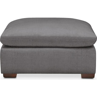 Plush Ottoman- in Hugo Graphite