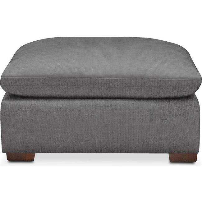 Living Room Furniture - Plush Ottoman- in Hugo Graphite