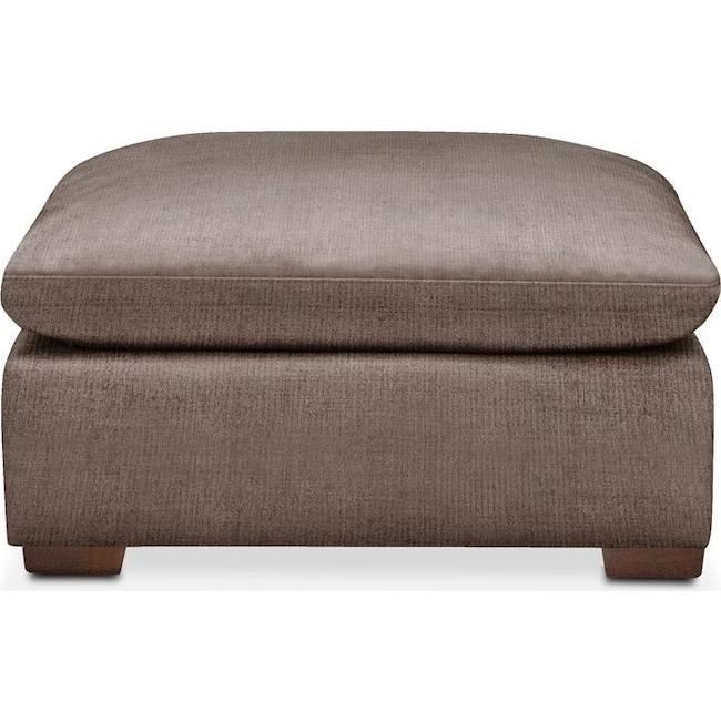 Living Room Furniture - Plush Ottoman- in Hugo Mocha