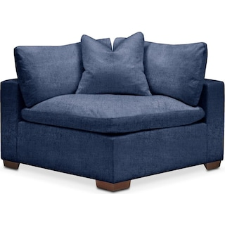 Plush Corner Chair- in Abington TW Indigo