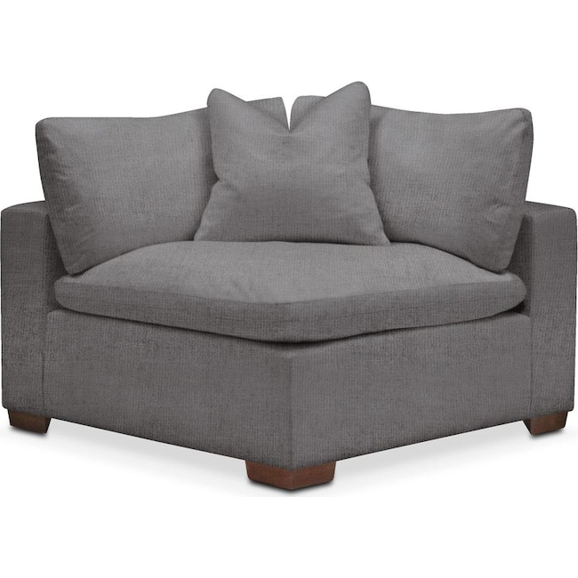 Living Room Furniture - Plush Corner Chair- in Hugo Graphite