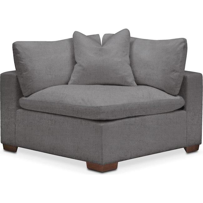 Living Room Furniture - Plush Corner Chair- in Hugo Graphite