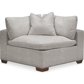 Plush Corner Chair- in Dudley Gray