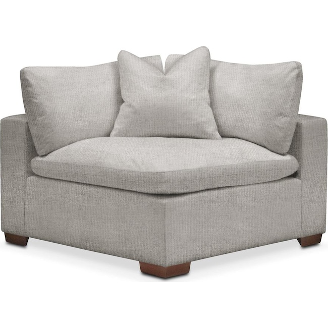 Living Room Furniture - Plush Corner Chair- in Dudley Gray