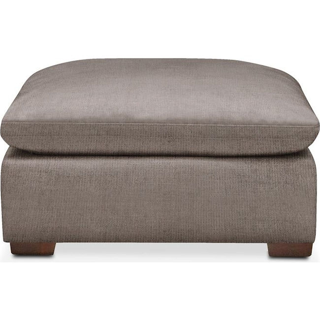 Living Room Furniture - Plush Ottoman- in Oakley III Granite