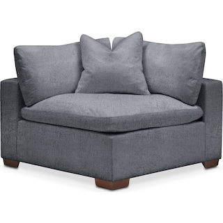 Plush Corner Chair- in Dudley Indigo