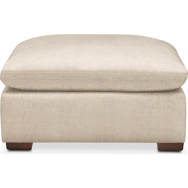 Living Room Furniture - Plush Ottoman- in Victory Ivory