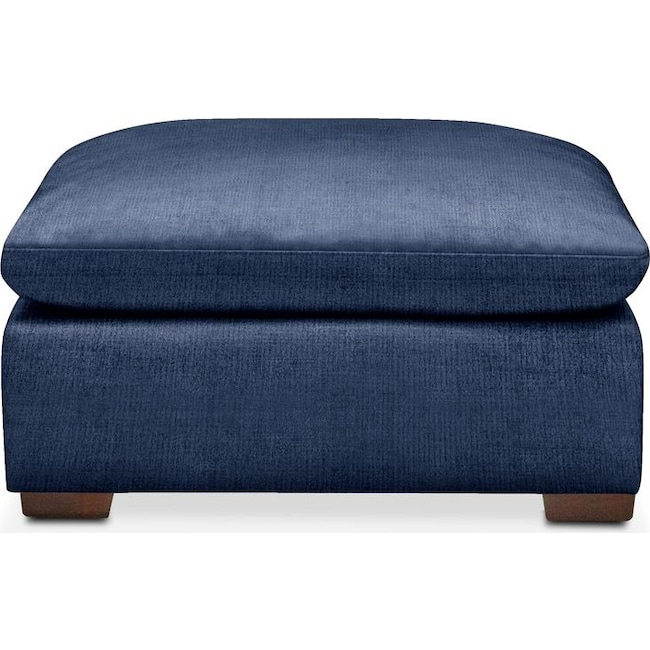 Living Room Furniture - Plush Ottoman- in Abington TW Indigo