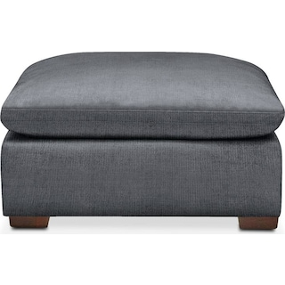 Plush Ottoman- in Milford II Charcoal