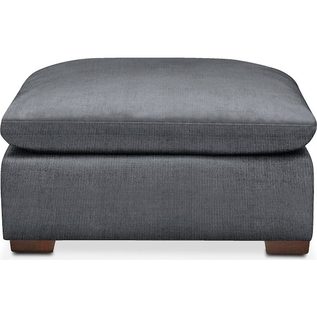 Living Room Furniture - Plush Ottoman- in Milford II Charcoal