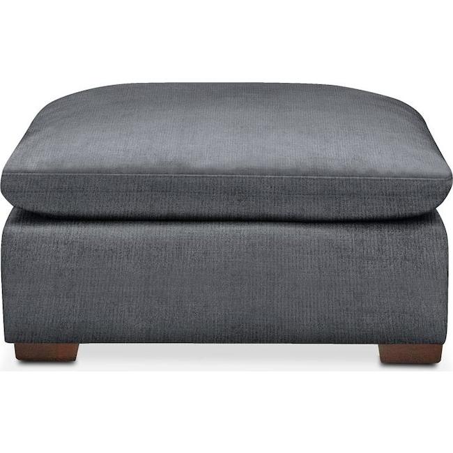 Living Room Furniture - Plush Ottoman- in Milford II Charcoal