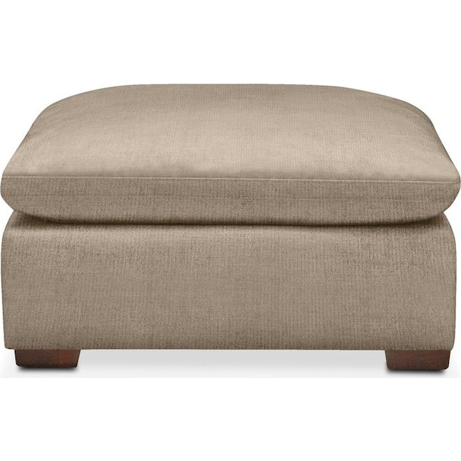 Living Room Furniture - Plush Ottoman- in Dudley Burlap