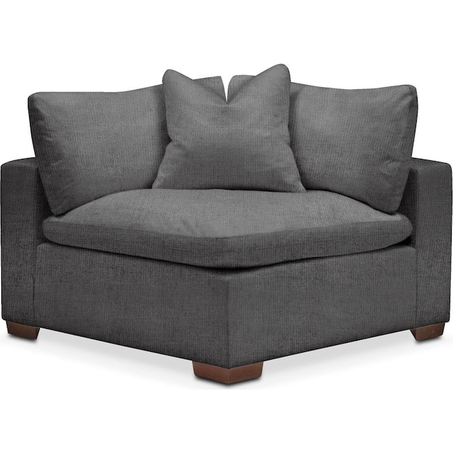 Living Room Furniture - Plush Corner Chair- in Curious Charcoal