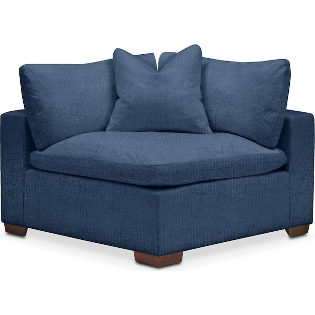 Living Room Furniture - Plush Corner Chair- in Hugo Indigo
