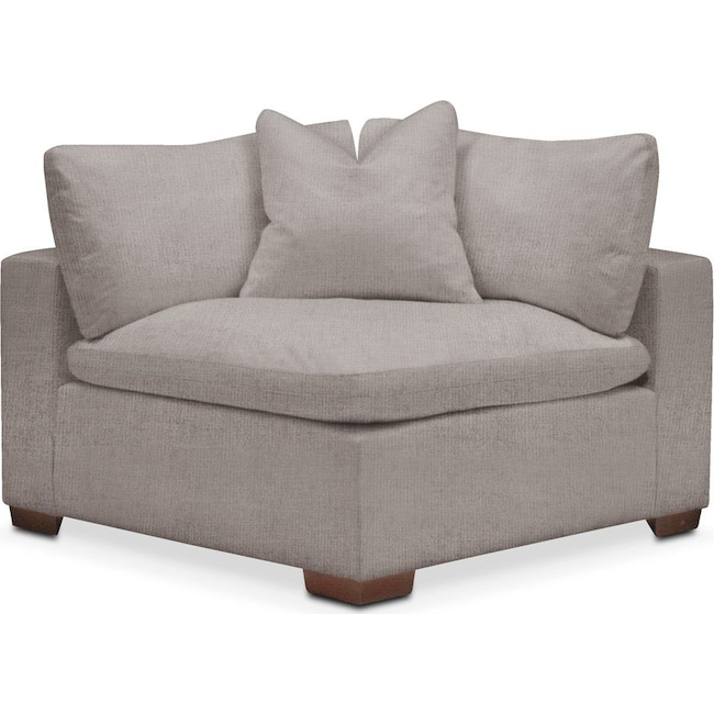 Living Room Furniture - Plush Corner Chair- in Curious Silver Rine