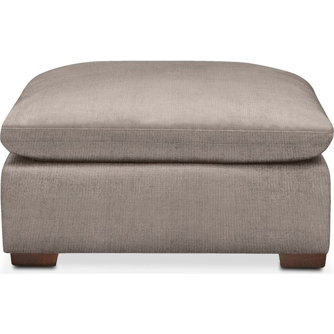 Living Room Furniture - Plush Ottoman- in Abington TW Fog