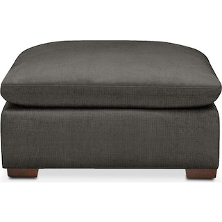 Plush Ottoman- in Statley L Sterling