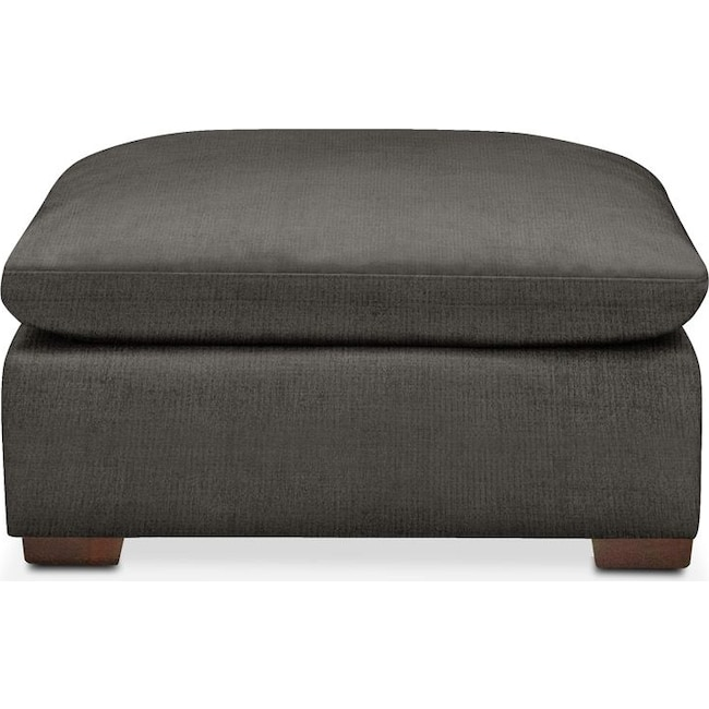 Living Room Furniture - Plush Ottoman- in Statley L Sterling