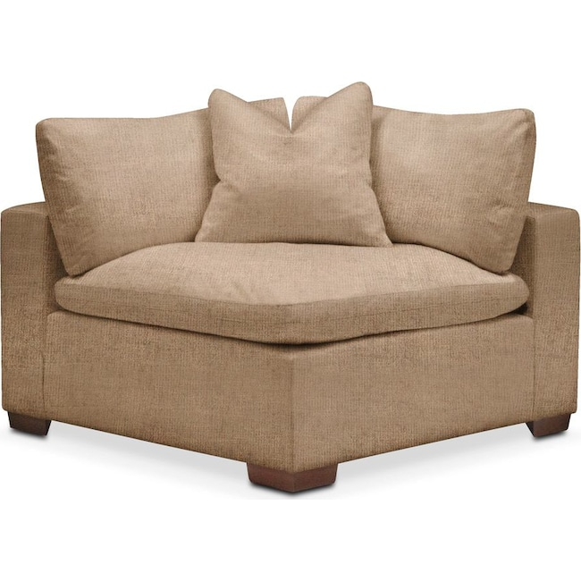 Living Room Furniture - Plush Corner Chair- in Hugo Camel