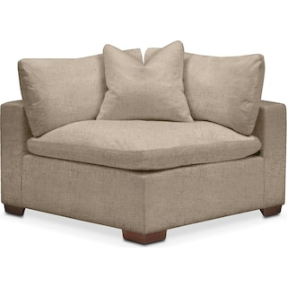 Plush Corner Chair- in Dudley Burlap