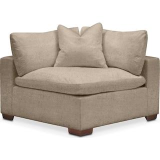 Plush Corner Chair- in Dudley Burlap