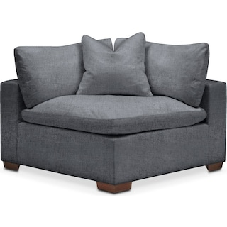 Plush Corner Chair- in Milford II Charcoal