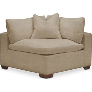 Plush Corner Chair- in Milford II Toast
