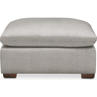 Plush Ottoman- in Dudley Gray