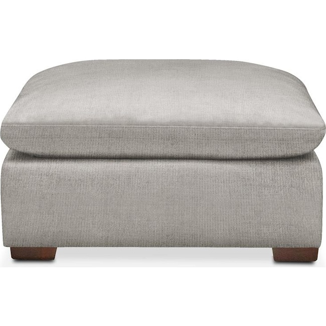 Living Room Furniture - Plush Ottoman- in Dudley Gray