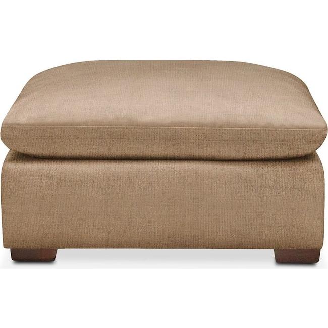 Living Room Furniture - Plush Ottoman- in Hugo Camel