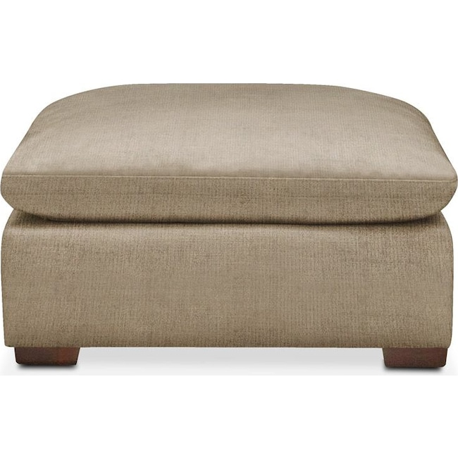 Living Room Furniture - Plush Ottoman- in Milford II Toast