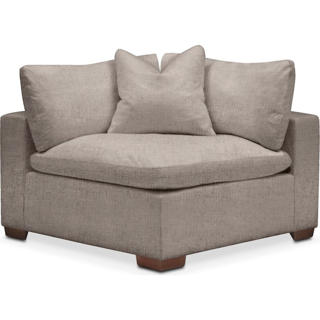 Living Room Furniture - Plush Corner Chair- in Abington TW Fog