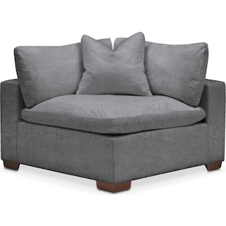 Plush Corner Chair- in Depalma Charcoal
