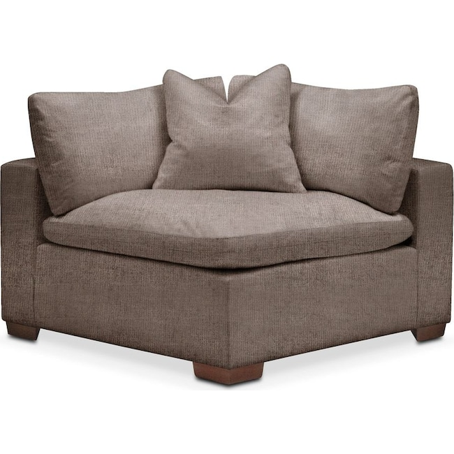 Living Room Furniture - Plush Corner Chair- in Hugo Mocha