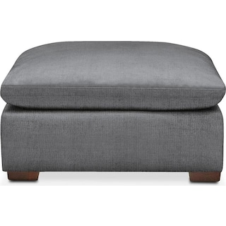 Plush Ottoman- in Depalma Charcoal