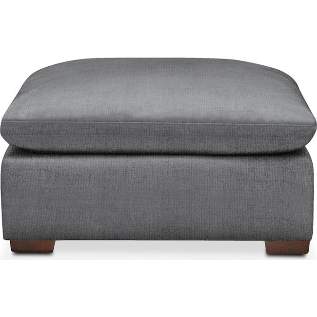 Living Room Furniture - Plush Ottoman- in Depalma Charcoal