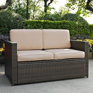 Aldo Outdoor Loveseat - Brown