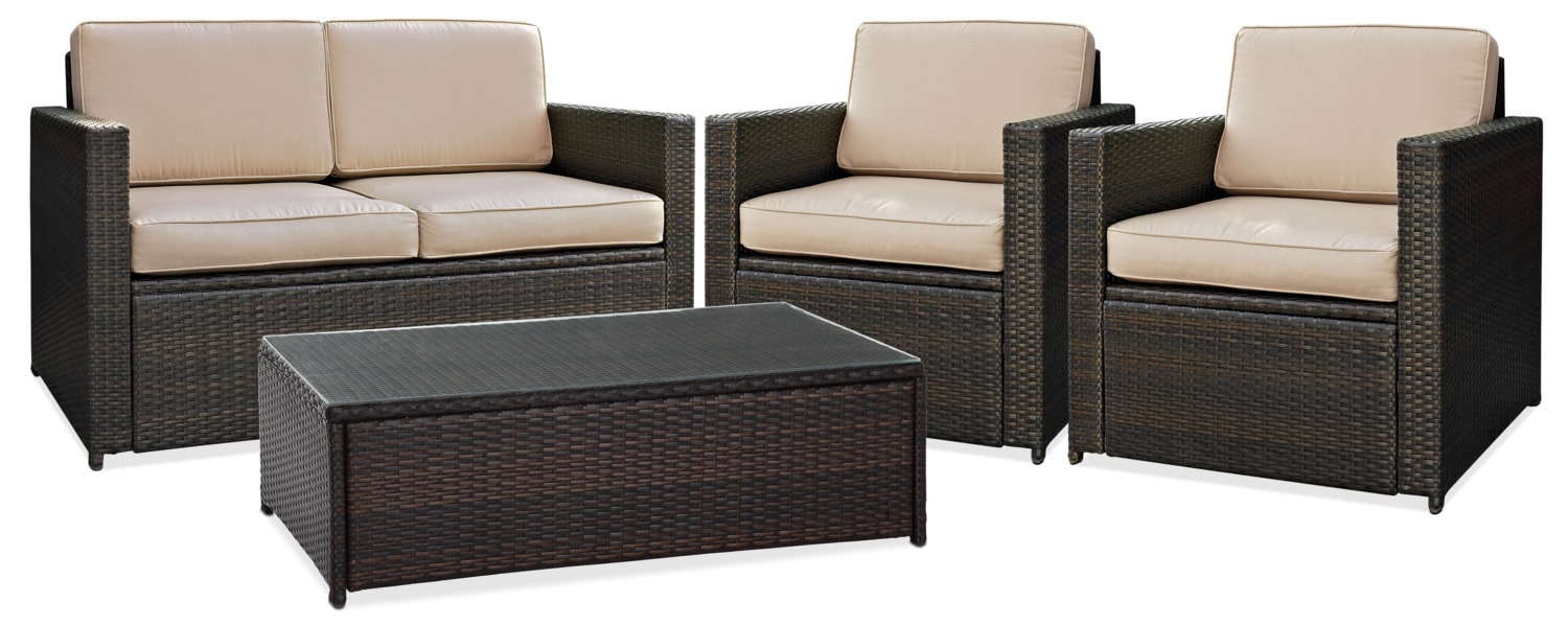 Outdoor Furniture - Aldo Outdoor Loveseat, 2 Chairs and Coffee Table Set