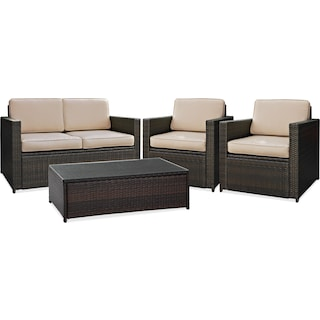 Aldo Outdoor Loveseat, 2 Chairs and Cocktail Table Set - Brown