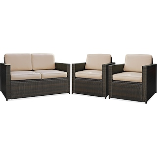Aldo Outdoor Loveseat and 2 Chairs Set - Brown