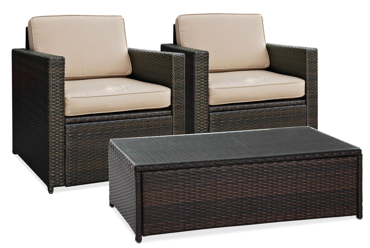 Outdoor Furniture - Aldo 2 Outdoor Chairs and Coffee Table Set - Brown