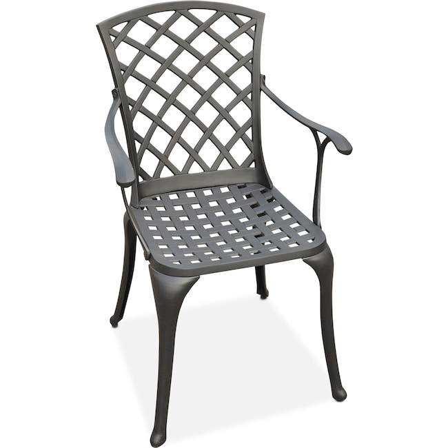 Outdoor Furniture - Hana Outdoor High-Back Arm Chair - Black