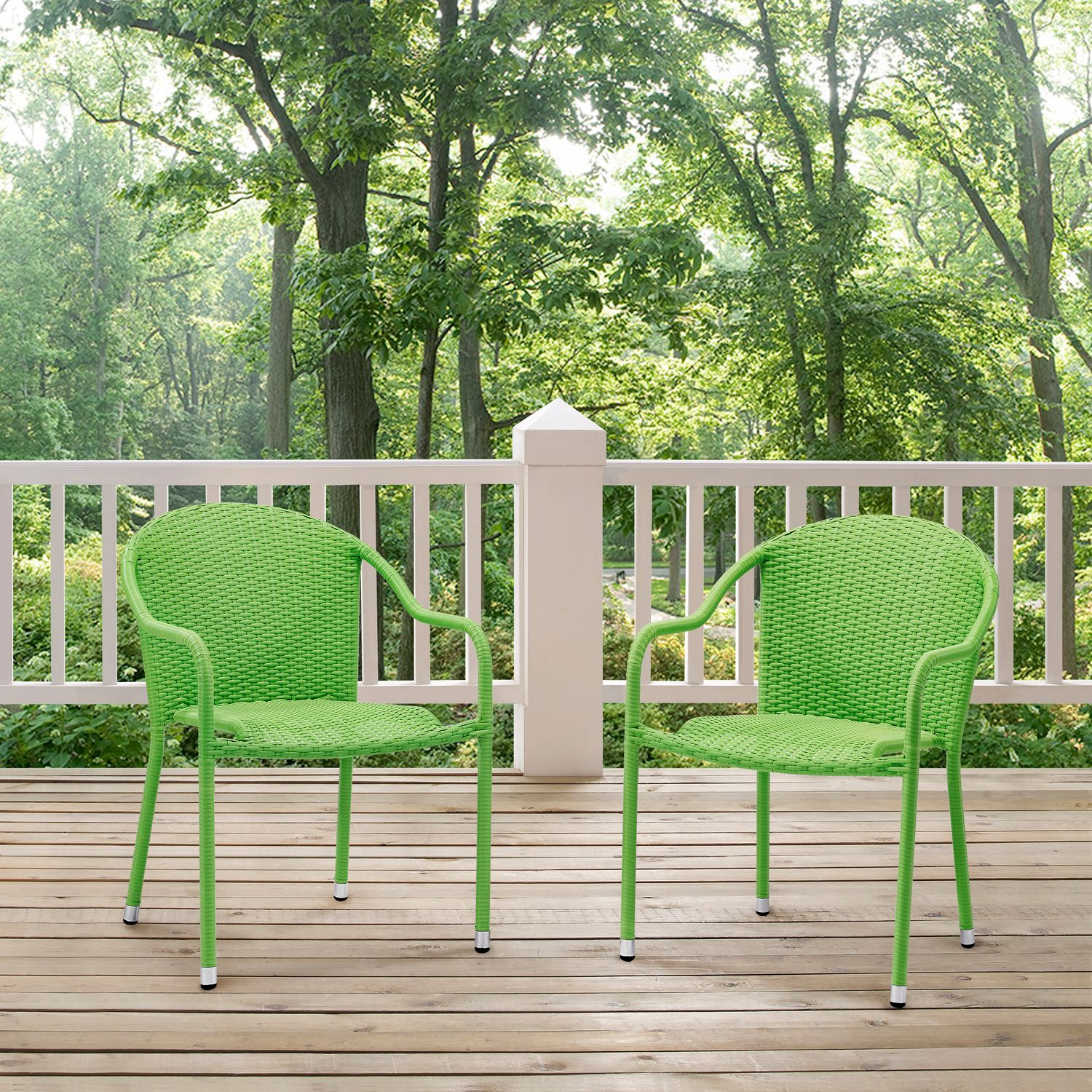 Outdoor Furniture - Aldo Set of 2 Stackable Outdoor Arm Chairs