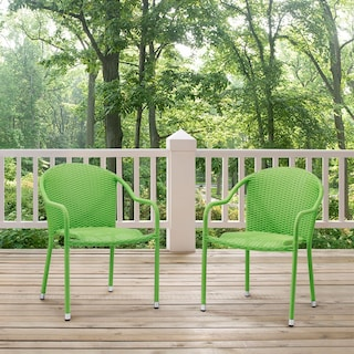 Aldo Set of 2 Stackable Outdoor Arm Chairs - Green