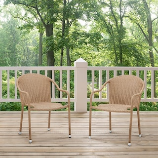 Aldo Set of 2 Stackable Outdoor Arm Chairs - Light Brown