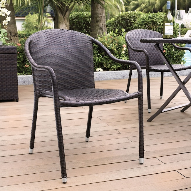 Outdoor Furniture - Aldo Set of 4 Stackable Outdoor Arm Chairs - Brown